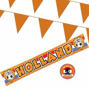Ek oranje straat/ huis versiering outfitket oa banner holland meter oranje vlaggenlijnen
