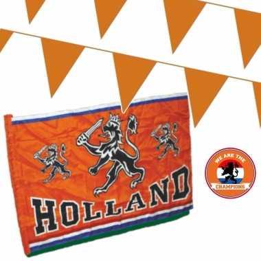 Ek oranje straat/ huis versiering outfitket oa holland spandoek, meter oranje vlaggenlijnen