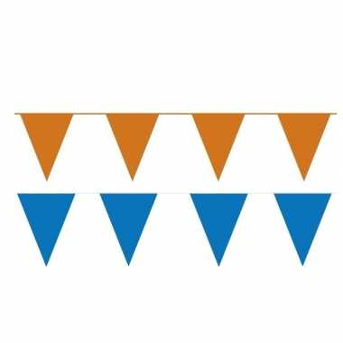 Oranje/blauwe feest punt vlaggetjes outfitket meter