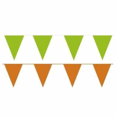 Oranje/groene feest punt vlaggetjes outfitket meter