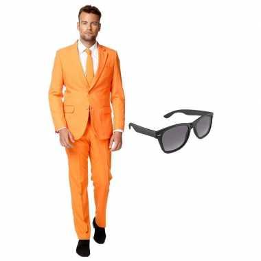 Oranje heren outfit maat (xxl) gratis zonnebril