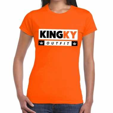 Oranje kingky outfit t shirt dames