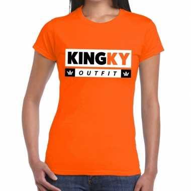 Oranje kingky outfit t shirt dames