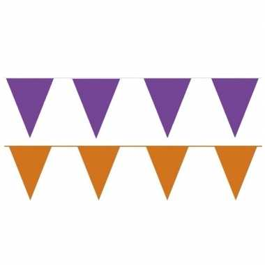 Oranje/paarse feest punt vlaggetjes outfitket meter