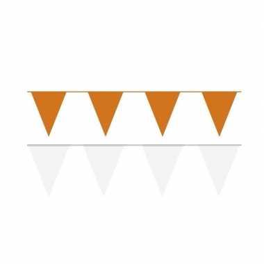 Witte/oranje feest punt vlaggetjes outfitket meter