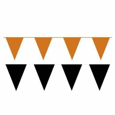 Zwart oranje feest punt vlaggetjes outfitket meter 10113644