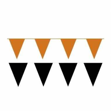 Zwart/oranje feest punt vlaggetjes outfitket meter